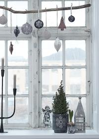 Скандинавский новогодний подсвечник Frostine Snow Smoked Grey Lene Bjerre фото