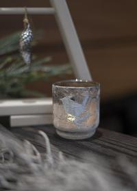 стеклянный новогодний подсвечник для интерьера Frostine Bird Smoked Grey Lene Bjerre фото