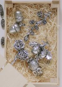 Декор новогодний на елку желуди серебряные датского бренда Lene Bjerre фото
