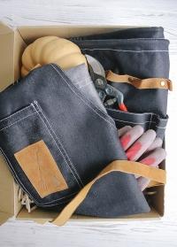 Подарок для дачи и сада Denim - фартук и  сумка для инструментов Esschert Design, японский садовый секатор Chikamasa фото