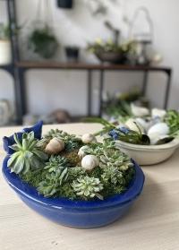 Купальня для птиц - керамическое кашпо для композиций Blue FB404 Esschert Design фото