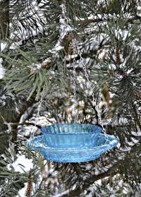 Кормушка для птиц стеклянная для дачи и сада FB330 Blue Esschert Design фото